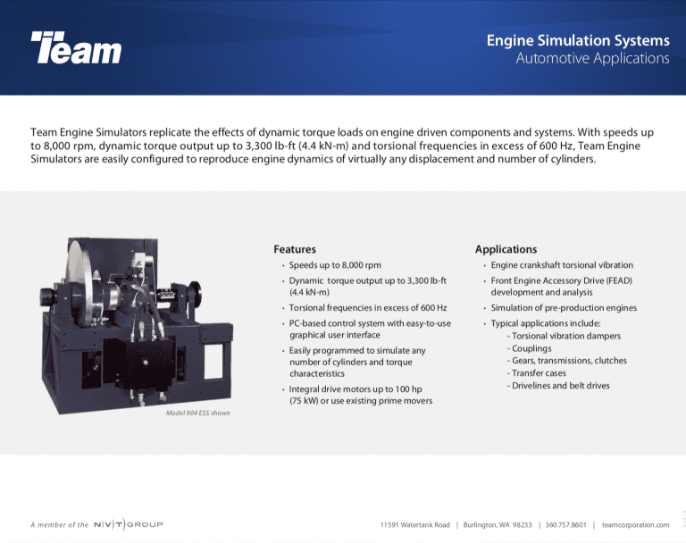 Team-Corporation-Engine-Simulation-System-Data Sheet