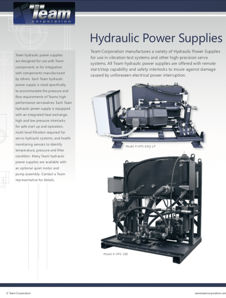 Team-Corporation-Hydraulic-Power-Supplies-Range brochure