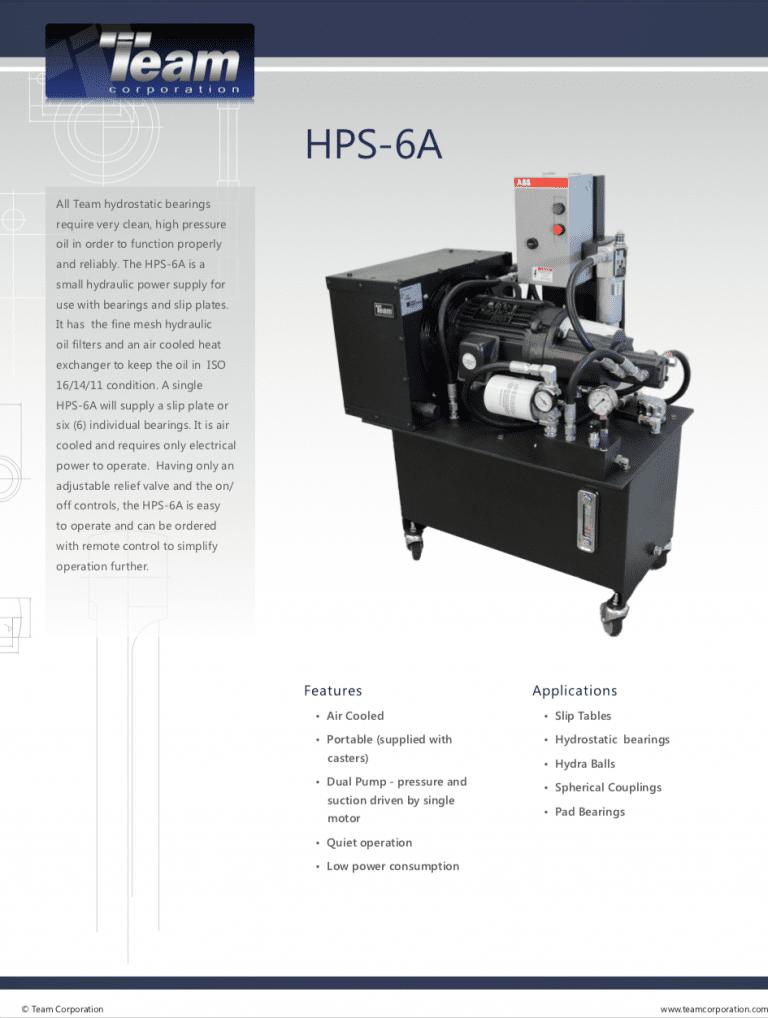 Team-Corporation-Hydraulic-Power-Supply-HPS6A Data Sheet