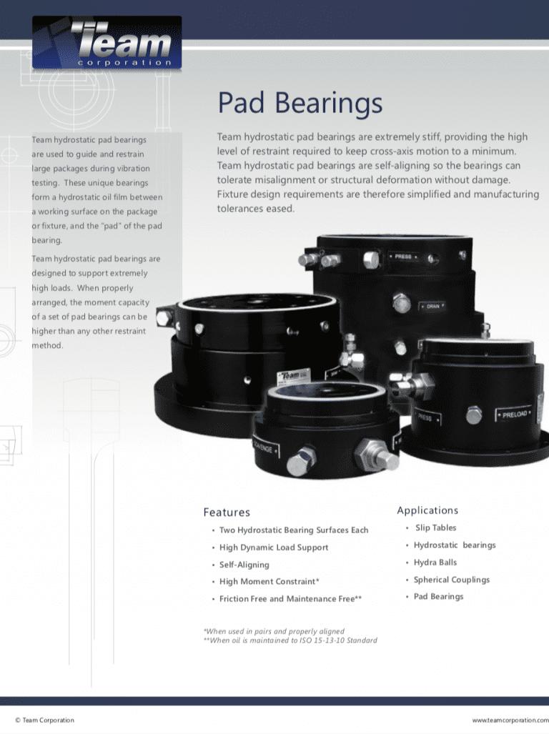 Team-Corporation-Pad-Bearings brochure