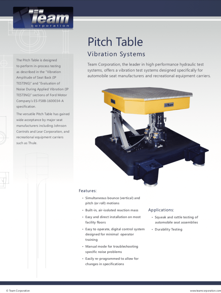 Team Corporation pitch table data sheet.
