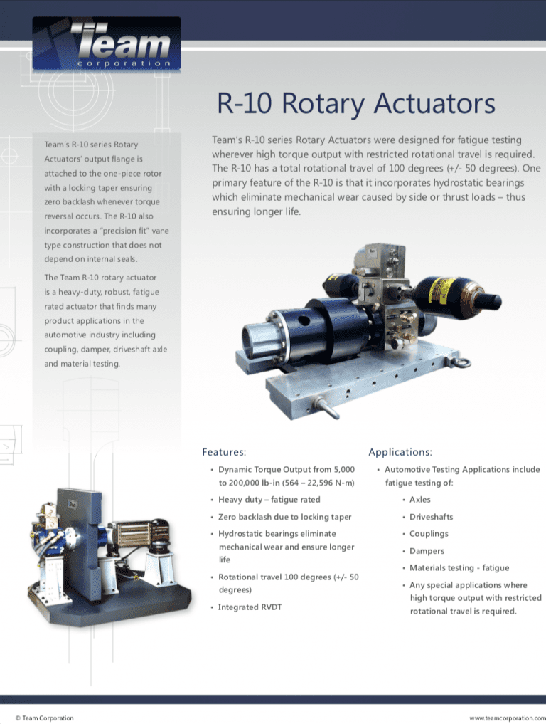 Team-Corporation-R-10-Rotary-Actuator brochure