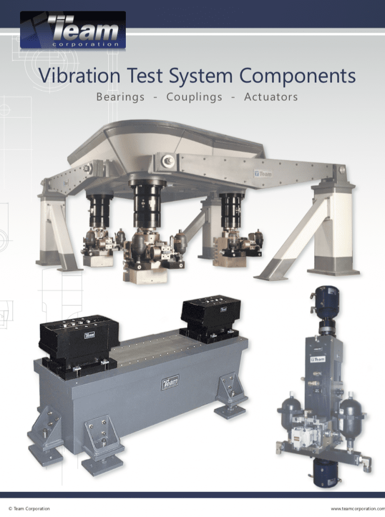 Team Corporation vibration test system components data sheet.