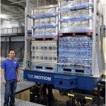 Man standing next to TruMotion multi-DOF vibration test system.